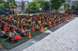 Students of Thaajuddin School at an assembly. PHOTO: HUSSAIN WAHEED/MIHAARU