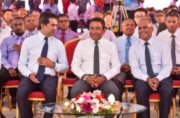 President Abdulla Yameen (C), economic minister Mohamed Saeed (L) and MACL's managing director Adil Moosa at the ceremony to kick off development of VIA's new runway. PHOTO: NISHAN ALI/MIHAARU