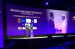 Economic minister Mohamed Saeed speaks at the fourth Maldives Investment Forum in Dubar 2017. PHOTO/ECONOMIC MINISTRY
