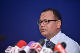 Defence minister Adam Shareef speaks at press conference. PHOTO: HUSSAIN WAHEED/MIHAARU