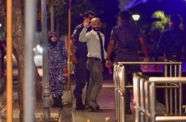 MP Faris Maumoon being taken to Dhoonidhoo Detention Centre. PHOTO/MIHAARU