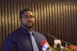 Attorney General Mohamed Anil speaks at the launching ceremony of the campaign to familiarise people with the Criminal Procedure Code. PHOTO: HUSSAIN WAHEED/MIHAARU