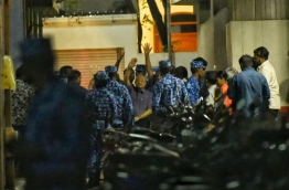 Former president Maumoon Abdul Gayyoom being escorted by the police on February 6, 2018. MIHAARU PHOTO / HUSSEN WAHEED
