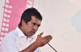Economic Minister, Mohamed Saeed at a PPM Campaign rally at Rumaalu 2 campaign hub. PHOTO: AHMED HAMDHOON/MIHAARU