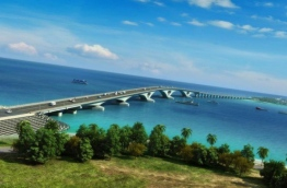 A projected image of the finished China-Maldives Friendship Bridge, by CCCC Second Harbour Engineering.