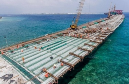 Aerial view of the China-Maldives Friendship Bridge being developed between Male and Hulhule. PHOTO/DR MOHAMED MUIZZU TWITTER