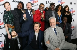 "The cast of ""Get Out"" poses with the Best Feature Award in the press room during the 2018 Film Independent Spirit Awards, in Santa Monica, California, on March 3, 2018. / AFP PHOTO / JEAN-BAPTISTE LACROIX"