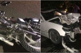 The car and motorcycle involved in the accident on Saturday evening. PHOTO/ADDULIVE