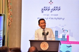 "President Yameen Abdul Gayoom during his speech at the launch of ""Ravvehi Tharahgee""."