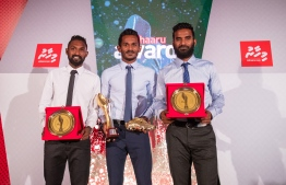 "Paradise Island Resort, May 5, 2018: Ali ""Sentey"" Fasir (C), Mohamed Umair (L) and Ali ""Dhagandey"" Ashfaq, who win first, second and third place in Football respectively. PHOTO/IMAGES.MV"