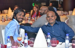Hotel Jen, May 15, 2018: Moosa Latheef (R), the editor of Mihaaru, with Niushad Shareef, the marketing manager of Allied Insurance, at the launching of The Edition. PHOTO: NISHAN ALI