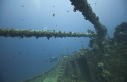 The wreck of MV Victory off the coast of Hulhule. PHOTO: MOHAMED SEENEEN