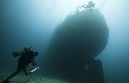 Divers during an excursion to the wreck of MV Victory. PHOTO: MOHAMED SEENEEN