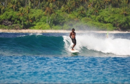 Riding the heavenly swells inside Mickados. PHOTO: MIckey Natts.