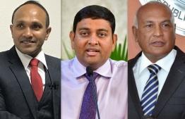 Right to Left: Former Foreign Minister Ahmed 'Kerafa' Naseem, Fisheries Minister Dr Mohamed Shainee and Former Vice President Dr Mohamed Jameel