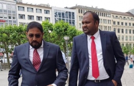 Jumhooree Party's founder Qasim Ibrahim (L) and recently appointed president Ali Waheed.