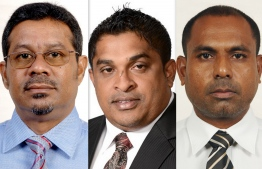 L-R: Ahmed Hafiz, the new state minister of Sports, Abdul Muhsin Hameed, the new deputy minister of Housing, and Hassan Rasheed, the new state minister of Health. PHOTO/PRESIDENT'S OFFICE