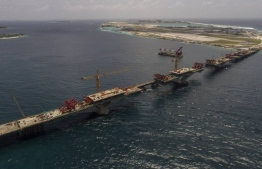 Aerial view of China-Maldives Friendship Bridge connecting Male and Hulhule. FILE PHOTO/MIHAARU