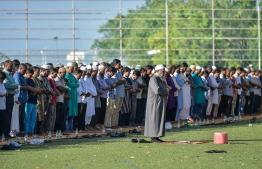 Male, June 15, 2018: During the Eid prayers on the morning of Eid al-Fitr. PHOTO: NISHAN ALI/MIHAARU