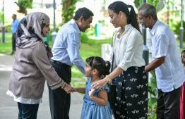 Rasrani Bageecha, Male, June 15, 2018: President Abdulla Yameen and FIrst Lady Fathimath Ibrahim greet the public after Eid prayers on Eid al-Fitr. PHOTO: NISHAN ALI/MIHAARU