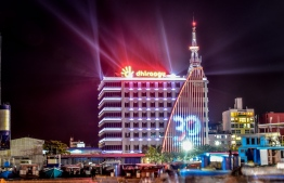 West Harbour, Male, June 15, 2018: During the Dhiraagu Light Show held near the Tsunami Monument on the occasion of Eid al-Fitr. PHOTO: NISHAN ALI/MIHAARU