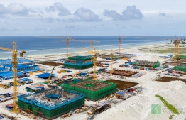 Aerial view of housing development in Hulhumale Phase 2.