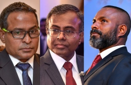 Supreme Court's Judge Dr. Ahmed Abdulla Didi (C), High Court's current Chief Judge Abdulla Didi (R) and High Court's Judge Abdul Ghani Mohamed. IMAGE/MIHAARU
