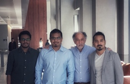 L-R: Pro Designers' MD Mohamed Shamheel, Hologo World's CEO Eedham Rasheed, Alan Greenberg, and Islanders Education's Executive Director Adhly Rasheed.