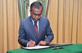 During the oath taking ceremony held at the President's Office.