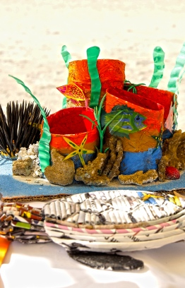 Crafts made from recycled materials on display at the Lhaviyani Turtle Festival 2018. PHOTO: HAWWA AMAANY ABDULLA/ THE EDITION