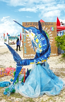 A sailfish made entirely from recycled materials by a participating group at the Lhaviyani Turtle Festival 2018. PHOTO: HAWWA AMAANY ABDULLA / THE EDITION