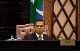 Parliament Speaker Abdulla Maseeh during a sitting. PHOTO/PEOPLE'S MAJILIS