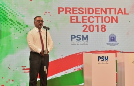 PSM's MD Ibrahim Khaleel speak during the agreement signing with MNU to host the presidential debates ahead of the Election 2018. PHOTO/MIHAARU