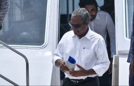 Former Judicial Administrator Hassan Saeed arrives at Male for a court hearing. PHOTO: HUSSAIN WAHEED/MIHAARU
