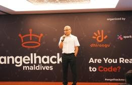 Dhiraagu CEO Ismail Rasheed speaks at the opening ceremony of AngelHack Maldives in Hotel Jen on July 21, 2018. PHOTO/DHIRAAGU