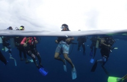Local women divers pictured during the PADI Women's Dive Day on July 21, 2018. PHOTO/MOODHU GOYYE