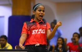 Fathimath Dheema Ali: she won 2016/17 'Best sportswoman of the year' and 'Best table tennis player award' at the Royal Institute's Class Awards. PHOTO/MIHAARU