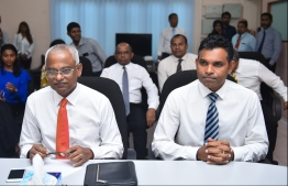 Ibrahim Mohamed Solih (Ibu) and his running mate Faisal Naseem (R). PHOTO: HUSSAIN WAHEED / MIHAARU