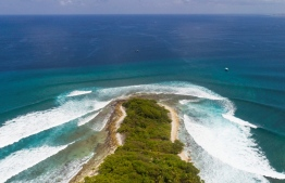 Aerial view of Thanburudhoo island, a special surfing location in the Maldives that was successfully sought for protection by local surfers when threatened with privatisation of waves in 2014. PHOTO: UNKNOWN