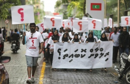 Protest held in demand of justice for missing journalist Ahmed Rilwan.