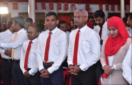 """Hinnavaru MP Ibrahim """"Ibu"""" Mohamed Solih (R-2), the joint opposition's presidential candidate for the Presidential Election 2018, participates in Jumhoory Party's 10th anniversary celebration on August 3, 2018. PHOTO: HUSSAIN WAHEED/MIHAARU"""