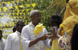 A capture of President-Elect during his campaign trail, developing rapport with people across Maldives. PHOTO: MIHAARU