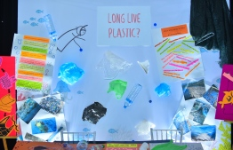 Long live plastic? Aminiya School takes on plastic decomposition in the food chain, at the Farukoe Expo. PHOTO: HUSSAIN WAHEED/THE EDITION