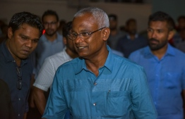 Opposition coalition presidential candidate Ibrahim Mohamed Solih (Ibu)