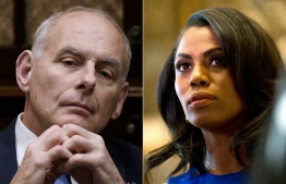 (COMBO) This combination of file pictures created on August 12, 2018 shows White House Chief of Staff John Kelly listens to US President Donald Trump during a working lunch with governors in the Roosevelt Room of the White House, in Washington, DC, on June 21, 2018 and Omarosa Manigault, a staffer for US President-elect Donald Trump, listens as Martin Luther King III speaks to the media after meeting with the President-elect at Trump Tower in New York City on January 16, 2017.   A former White House staffer who has written a bombshell memoir of her time serving under President Donald Trump released a secret tape Sunday August 12, 2018, of the chief of staff firing her.  / AFP PHOTO / Olivier Douliery AND DOMINICK REUTER