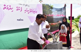 President Yameen inaugurating the water supply system established in Th.Thimarafushi. PHOTO: PRESIDENT OFFICE WEBSITE