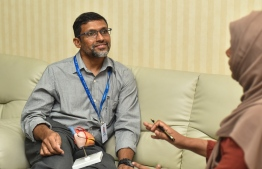 Cardio Thoracic and Vascular Surgeon, Dr. Mohamed Shafiu, of ADK Hospital gives interview to Mihaaru. PHOTO: AHMED NISHAATH/MIHAARU