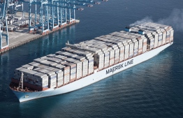 A container ship of Maersk Line Shipping-