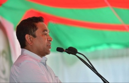 President Abdulla Yameen speaks during his official visit to Th.Madifushi. PHOTO/PRESIDENT'S OFFICE