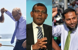 The three main political leaders being held prisoner or evading prison sentence, as the case may be. From left to right; Former President Maumoon Abdul Gayoom (brother to incumbent President Yameen Abdul Gayoom), Former President Mohamed Nasheed (evaded 13-year prison term by seeking asylum in UK) and Sheikh Imran Abdulla, leader of Adhaalath Party and religious scholar. PHOTO: THE EDITION / MIHAARU